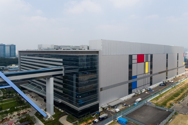 This photo provided by Samsung Electronics Co. on June 9, 2021, shows the company's foundry factory in Hwaseong, south of Seoul.