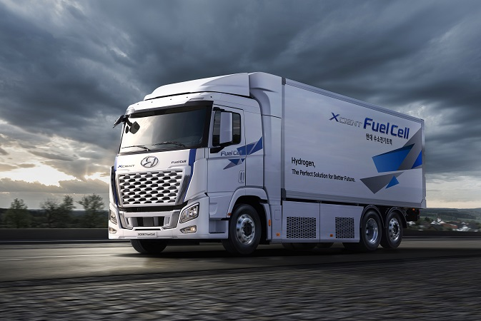 This photo, released by Hyundai Motor Group on May 25, 2021, shows the Korean automaker's Xcient fuel cell heavy truck.