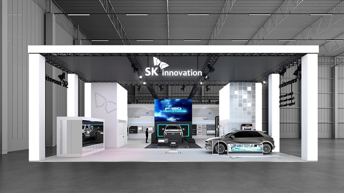 This photo provided by SK Innovation Co. on June 8, 2021, shows its booth for InterBattery 2021, South Korea's largest battery industry fair that opens on June 9 at the Convention & Exhibition Center for a three-day run.