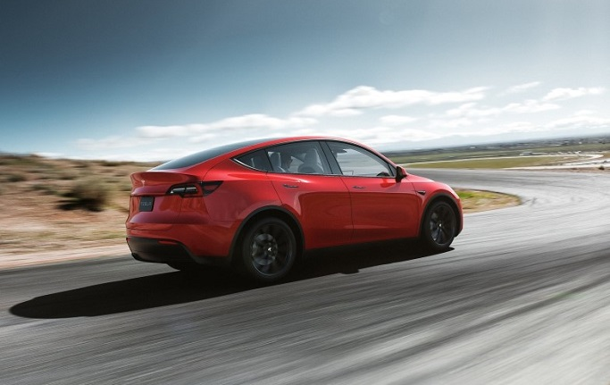 Tesla's Model Y SUV is seen in this photo provided by the U.S. electric vehicle maker's Korean unit.