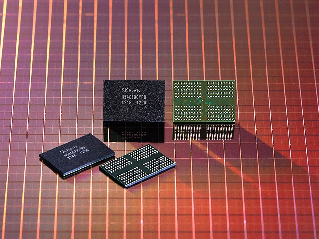 This photo provided by SK hynix Inc. on July 12, 2021, shows the company's 1anm DRAM using extreme ultraviolet lithography technology.
