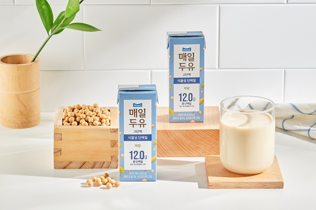 This photo provided by Maeil Dairies Co. shows the company's high-protein soy milk.