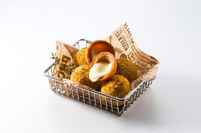 This photo provided by BHC Co., a fried chicken franchise operator, shows its cheese ball side dish.