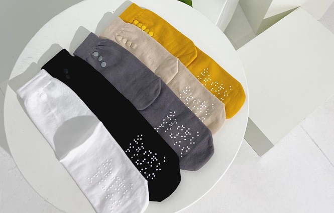 This photo provided by Gachon University shows a pair of socks designed for visually impaired people.