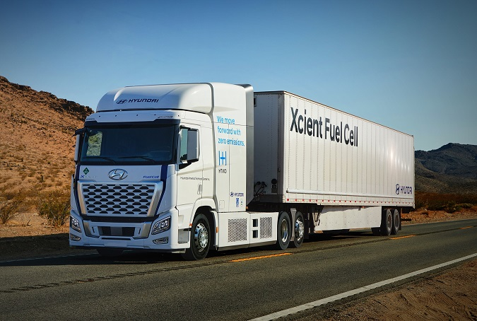 Hyundai Motor Co.'s Xcient fuel cell heavy-duty truck is seen in this photo provided by the automaker on July 27, 2021.
