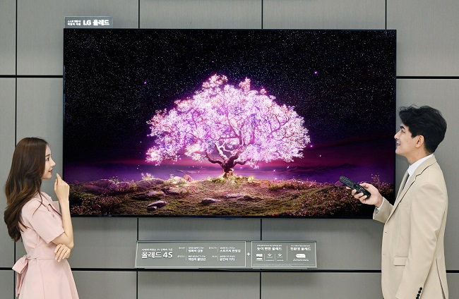 This file photo provided by LG Electronics Inc. on June 20, 2021, shows the company's 83-inch OLED TV.