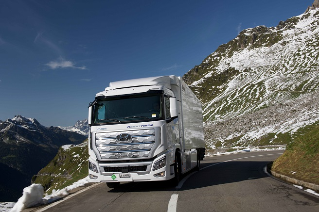 Hyundai Motor Co.'s Xcient fuel cell heavy-duty truck runs on a road in Switzerland in this photo provided by the Korean automaker on July 2, 2021.