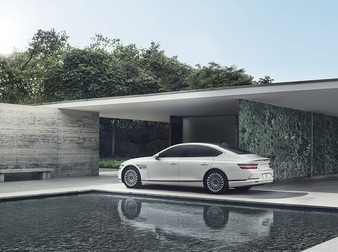 This photo, released by Genesis, the independent luxury brand of Hyundai Motor Co. on July 7, 2021, shows the carmaker's electrified G80 midsize sedan that was launched in South Korea the same day.