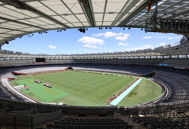This photo taken July 18, 2021, shows Tokyo Olympic Stadium, where the opening and closing ceremonies of the Tokyo Olympics will be held, along with football matches and other athletics events. The Tokyo Olympics, which have been postponed for a year due to the coronavirus pandemic, will run from July 23 through Aug. 8. (Yonhap)