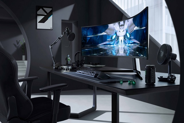 This photo provided by Samsung Electronics Co. on July 27, 2021, shows the Odyssey Neo G9 curved gaming monitor using the Mini LED display.