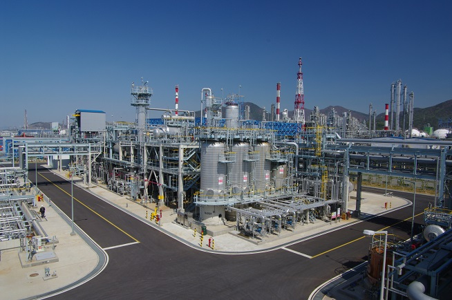 This photo provided by DL Chemical Co. shows its plant in the industrial city of Yeosu.