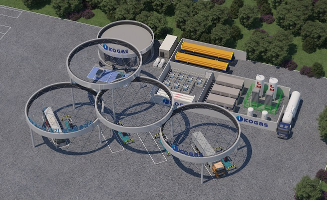 This image provided by the Korea Gas Corp. shows a bird eye's view of convergence hydrogen charging station,
