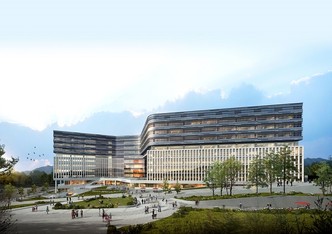 This image provided by the city government of Seongnam on Dec. 31, 2019, shows an innovation center in Pangyo Technovalley, South Korea's startup cluster.
