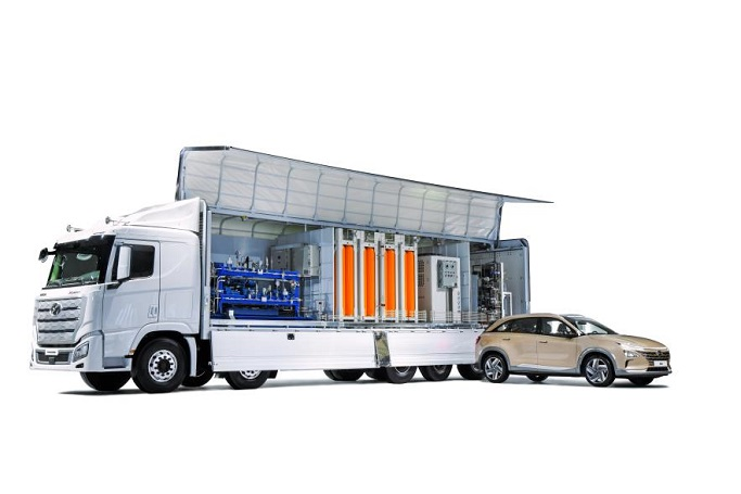 This photo, provided by Hyundai Motor Group, shows a rendering of a movable hydrogen charging station. On Sept. 7, 2021, the South Korean carmaker announced a vision to popularize hydrogen by 2040, under which it will apply fuel cell systems to all commercial vehicles by 2028.