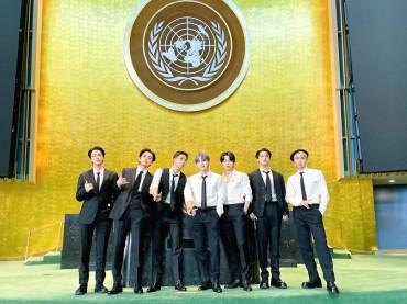 BTS Wear Eco-friendly Clothes at U.N. Headquarters
